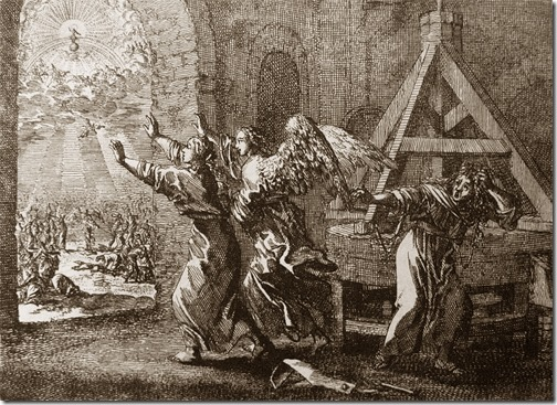 The Rapture: One at the mill, Johannes Luyken (Also known as Jan Luyken, Dutch Poet, Illustrator and Engraver, 1649–1712), etching