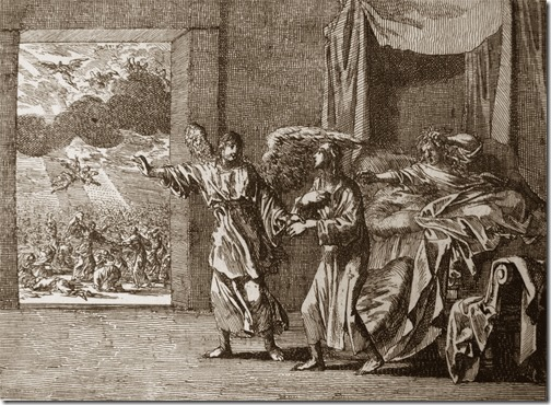 The Rapture: One in the bed, Johannes Luyken (Also known as Jan Luyken, Dutch Poet, Illustrator and Engraver, 1649–1712), etching