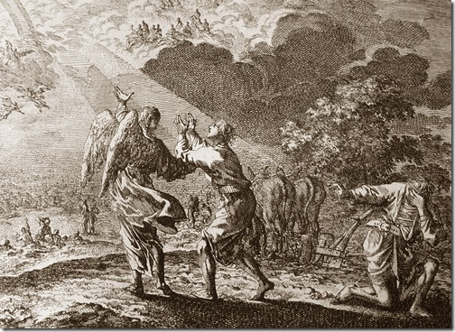 The Rapture: One in the Field, Johannes Luyken (Also known as Jan Luyken, Dutch Poet, Illustrator and Engraver, 1649–1712), etching