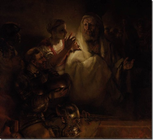 The Denial of Peter (De verloochening van Petrus), 1660, Rembrandt van Rijn