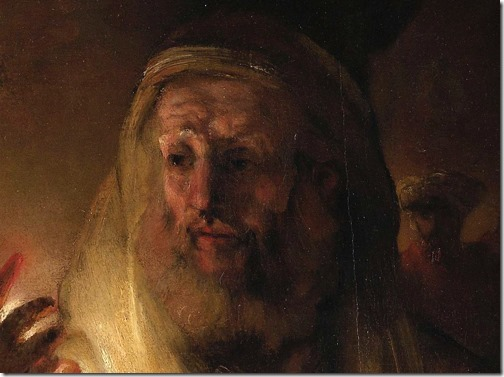 DETAIL: The Denial of Peter (De verloochening van Petrus), 1660, Rembrandt van Rijn