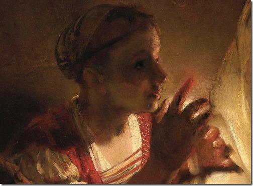 DETAIL: The Denial of Peter (De verloochening van Petrus), 1660, Rembrandt van Rijn