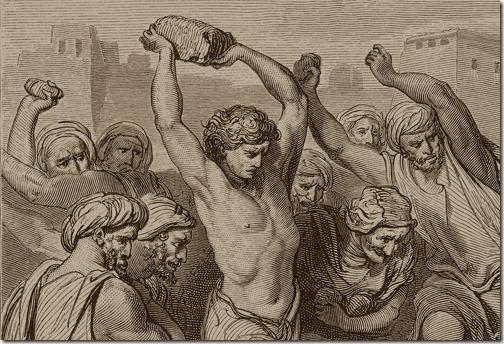 DETAIL: The Martyrdom of St. Stephen, 1866, Adolphe-François Pannemaker, Gustave Doré