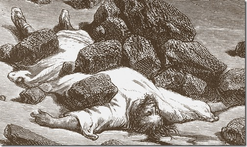 DETAIL: The Stoning of Achan, 1866, Héliodore-Joseph Pisan, after Gustave Doré