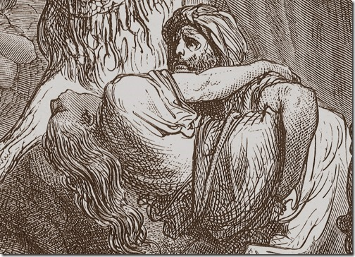 DETAIL: The Benjaminites Take the Virgins of Jabesh-gilead, 1866, Felix-Jean Gauchard, Gustave Doré