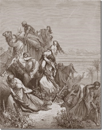 The Benjaminites Take the Virgins of Jabesh-gilead, 1866, Felix-Jean Gauchard, Gustave Doré