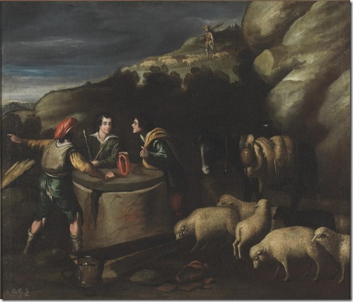 Jacob at the well (Jacob at the well of Haran / Jacob en el pozo / Jacó junto ao Poço), 17th century, studio of Pedro de Orrente