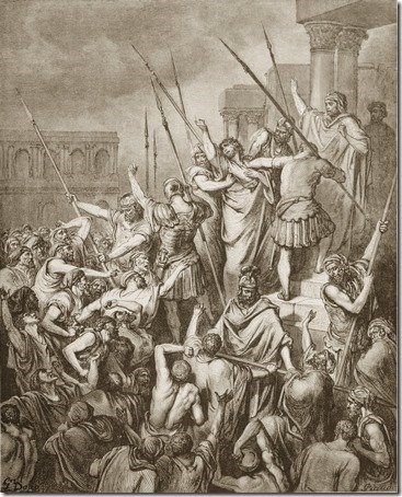 Paul Is Rescued from the Crowd, 1866, Antoine-Alphée Piaud, after Gustave Doré