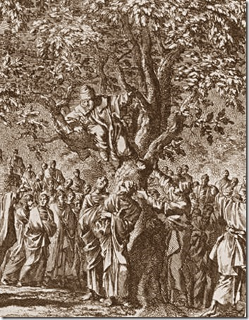 DETAIL: Zacchaeus in the fig tree (Zacchaeus in the Sycamore Tree / Calling of Zacchaeus / Zacheüs in de vijgenboom / Zaqueu no Sicômoro), 1708, Johannes Luyken
