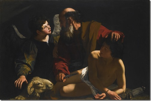 Sacrifice of Isaac (Abraham and the sacrifice of his son Isaac / Sacrificio d'Isacco / O Sacrifício de Isaque), ca. 1598, Caravaggio