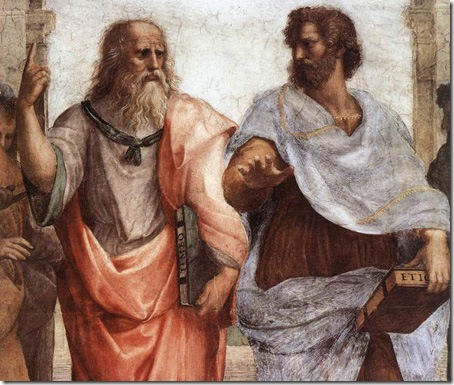 Plato and Aristotle, The School of Athens, detail, 1509-1510, Raphael Sanzio