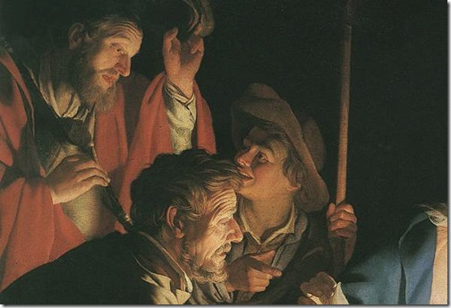 DETAIL: The Adoration of the Shepherds (Die Anbetung der Hirten / Adorazione dei Pastori / Adoração dos Pastores), 1622, Gerrit Van Honthorst