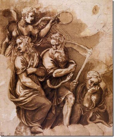 Victory, Janus, Chronos, and Gaea, 1532-34, Giulio Romano