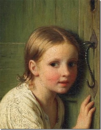 "DETAIL: Girl listening at the door (""Girl Listening"" / ""Little girl listens at the door"" / Mädchen an der tür lauschend), 1866, Johann Georg Meyer Von Bremen"