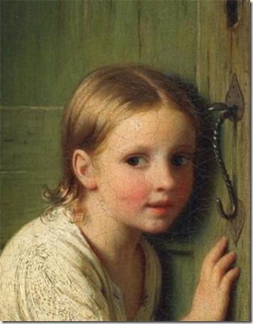 """DETAIL: Girl listening at the door (""""Girl Listening"""" / """"Little girl listens at the door"""" / Mädchen an der tür lauschend), 1866, Johann Georg Meyer Von Bremen"""