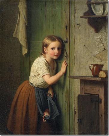 """Girl listening at the door (""""Girl Listening"""" / """"Little girl listens at the door"""" / Mädchen an der tür lauschend), 1866, Johann Georg Meyer Von Bremen"""