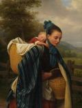 Jovem mulher da região do Harz com uma criança dormindo – Friedrich Eduard Meyerheim