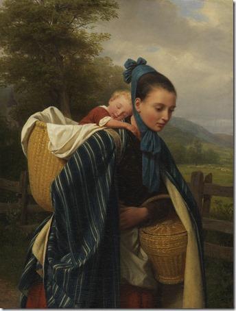 """Girl From The Harz Mountains With Child (Harzerin mit Kind / """"Junge Frau Aus Dem Harz Mit Ihrem Schlafenden Kind"""" / """"Jovem mulher da região do Harz com uma criança dormindo""""), 1845, Friedrich Eduard Meyerheim"""