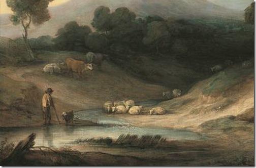 DETAIL: Mountain Landscape With Shepherd (Landschaft mit Hirt und Herde / Paisagem Montanhosa com Pastor e Rebanho), 1784, Thomas Gainsborough