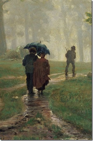 DETAIL: Rain in an oak forest (Rain in the Oak Grove /Дождь в дубовом лесу /Deszcz w dębowym lesie / Chuva na floresta de carvalhos), 1891, Ivan Shishkin
