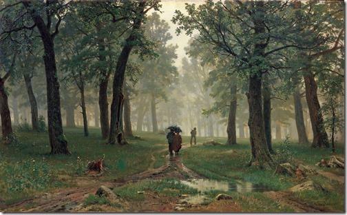 Rain in an oak forest (Rain in the Oak Grove /Дождь в дубовом лесу /Deszcz w dębowym lesie / Chuva na floresta de carvalhos), 1891, Ivan Shishkin