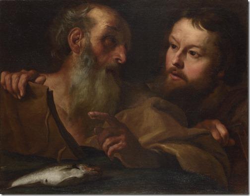 """Saints Andrew and Thomas (""""André e Pedro""""), detail, before 1627, Gian Lorenzo Bernini"""