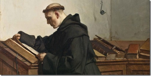 DETAIL: Luther discovers the Bible (Luther entdeckt die Bibel / Luther a découvert la Bible / Lutero Descobre a Bíblia), 1872, Wilhelm Ferdinand Pauwels
