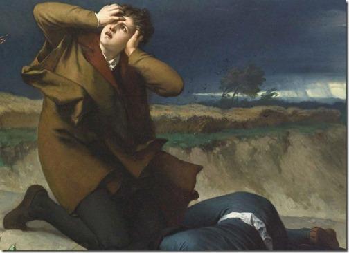 DETAIL: Luther's friend struck by lightning (Luthers Freund vom Blitz erschlagen /Amigo de Lutero atingido por um raio), 1872, Wilhelm Ferdinand Pauwels