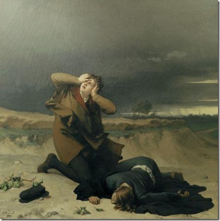 Luther's friend struck by lightning (Luthers Freund vom Blitz erschlagen /Amigo de Lutero atingido por um raio), 1872, Wilhelm Ferdinand Pauwels