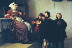 O jovem Lutero canta diante da senhora Ursula Cotta em Eisenach – Ferdinand Pauwels