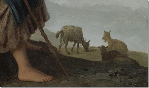 DETAIL: The little goat herder (Die Ziegenhirtin / A menina pastora de cabras), 1869, Johann Georg Meyer Von Bremen