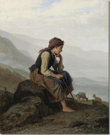 The little goat herder (Die Ziegenhirtin / A menina pastora de cabras), 1869, Johann Georg Meyer Von Bremen