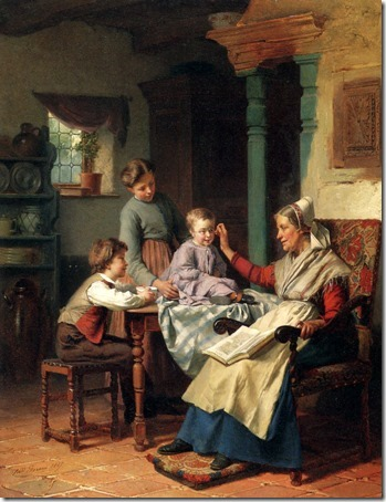 Trying On Grandmother's Spectacles (Intenta En Gafas de la abuela / Poniéndose las gafas de la abuela / Colocando os óculos da vovó), 1867, Theodore Gerard