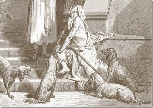 DETAIL: Lazarus outside the Rich Man's House (Lázaro à porta do homem rico), 1866, Antoine-Valérie Bertrand, after Gustave Doré