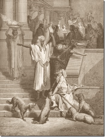 Lazarus outside the Rich Man's House (Lázaro à porta do homem rico), 1866, Antoine-Valérie Bertrand, after Gustave Doré