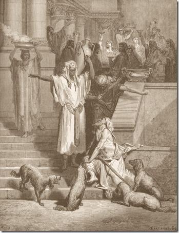 Lazarus outside the Rich Man's House (Lázaro à porta do homem rico), 1866, Antoine-Valérie Bertrand, after Gustave Doré