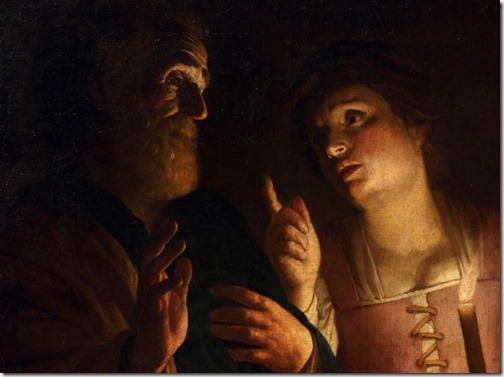 "DETAIL: ""The Denial of St. Peter"" (Le Reniement de saint Pierre), ca. 1618-1620, Gerrit Van Honthorst"