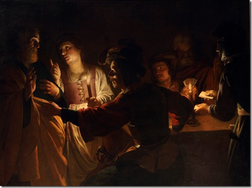 """The Denial of St. Peter"" (Le Reniement de saint Pierre), ca. 1618-1620, Gerrit Van Honthorst"