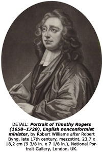 DETAIL: Portrait of Timothy Rogers (1658–1728), English nonconformist minister, by Robert Williams after Robert Byng, late 17th century, , mezzotint, 23,7 x 182 cm (9 3/8 in. x 7 1/8 in.), National Portrait Gallery, London, UK.