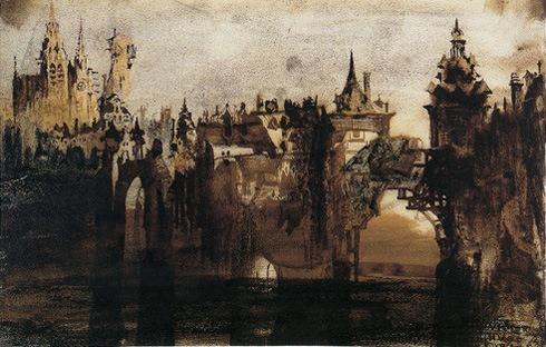 Town with tumbledown bridge, 1847, Victor Hugo