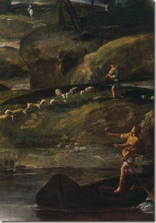 DETAIL: Landscape with the Flight into Egypt (Paisagem com a Fuga para o Egito), 1603-1604, Annibale Carracci