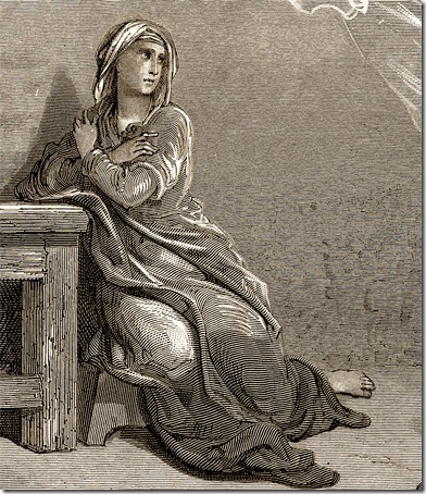 DETAIL: The Annunciation, 1866, Théodore Caruelle d'Aligny, after Gustave Doré