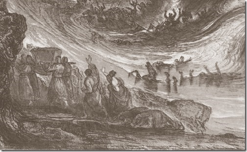 DETAIL: The Destruction of Pharaoh's Host (A Destruição do Exército de Faraó), 1833, James Charles Armytage, after John Martin