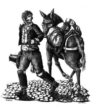Almocreve de Torres (Vendedor com uma mula carregada de odres), ca. 1835, Jorge Bekkerster Joubert