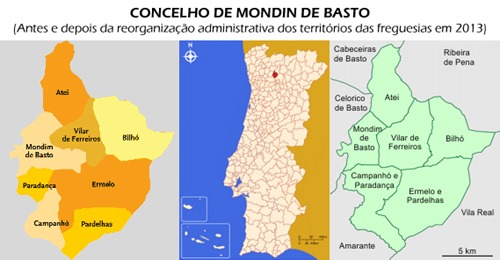 Freguesias no Concelho de Mondim de Basto, Vila Real