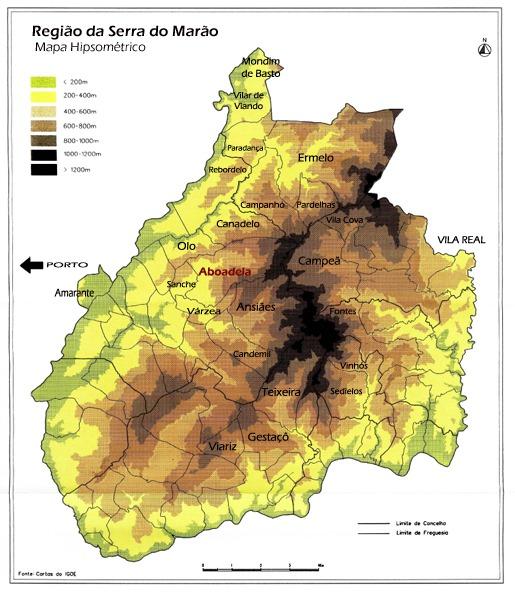 Região da Serra do Marão - Mapa Hipsométrico