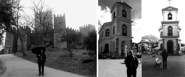 Gilson Santos em Guimarães, Portugal, e em frente à matriz de Cantagalo, RJ