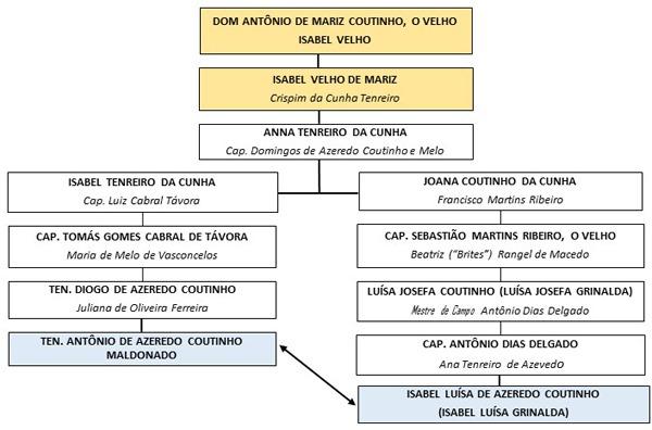 Quadro 1: Linhagem por Dom Antônio de Mariz e Crispim da Cunha Tenreiro