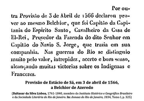 Provisão de Estácio de Sá, em 3 de abril de 1566, a Belchior de Azeredo