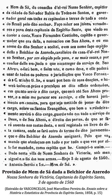 Provisão de Mem de Sá dada a Belchior de Azeredo, em 3 de agosto de 1560